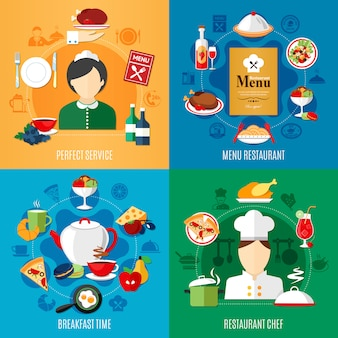 Insieme dell'illustrazione degli elementi e dei lavoratori del ristorante