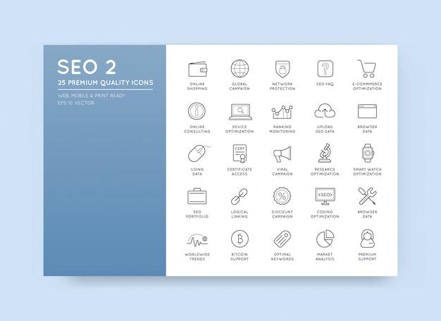 Insieme dell'illustrazione degli elementi e delle icone di ottimizzazione del motore di ricerca di seo di vettore