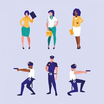 Insieme dell'illustrazione degli operai dei poliziotti e delle donne di affari