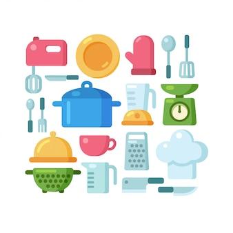 Insieme dell'illustrazione degli utensili da cucina del fumetto.