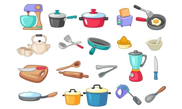 Insieme dell'illustrazione degli utensili della cucina