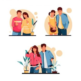 Insieme dell'illustrazione dei caratteri romantici delle coppie, concetto di progetto piano