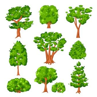 Insieme dell'illustrazione dei cespugli verdi e degli alberi