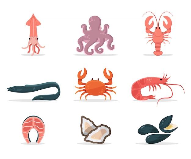Insieme dell'illustrazione dei frutti di mare, raccolta delle icone del cibo fresco sano, pacchetto degli articoli deliziosi del pasto eco disegni a colori di salmone, polpo, granchio, gambero, ostrica, anguilla.