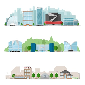 Insieme dell'illustrazione dei grandi skyline della città