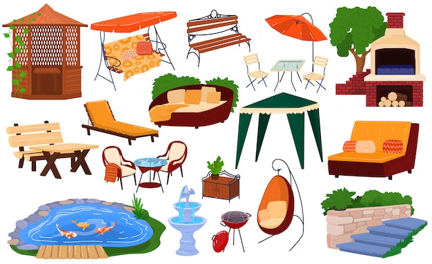 Insieme dell'illustrazione dei mobili da giardino, raccolta del fumetto degli elementi di giardinaggio d'arredamento di picnic del cortile per il padiglione del barbecue