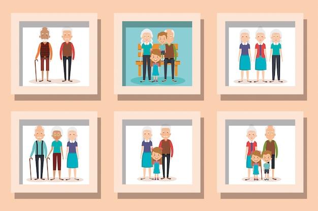 Insieme dell'illustrazione dei nonni con i nipoti