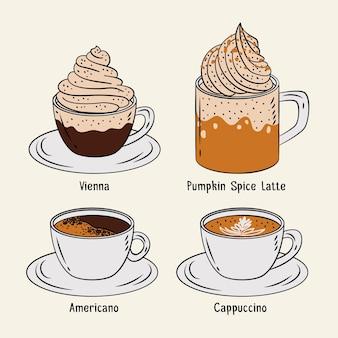 Insieme dell'illustrazione dei tipi di caffè
