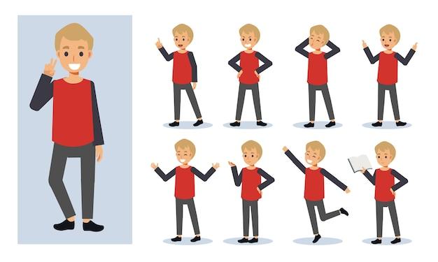 Insieme dell'illustrazione del carattere del ragazzo dei bambini in varie azioni. espressione di emozione.