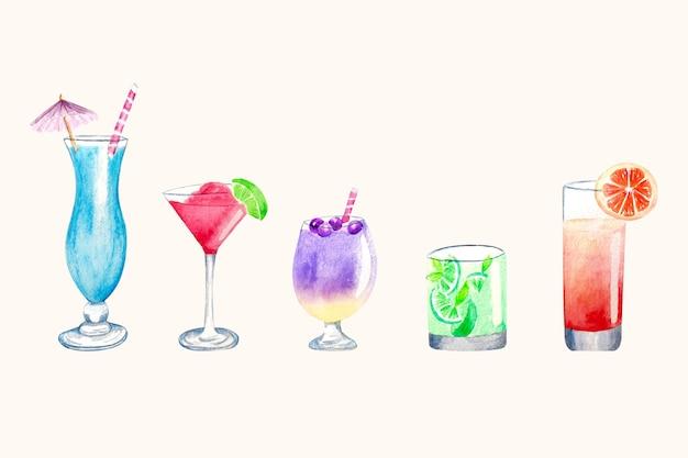 Insieme dell'illustrazione del cocktail dell'acquerello