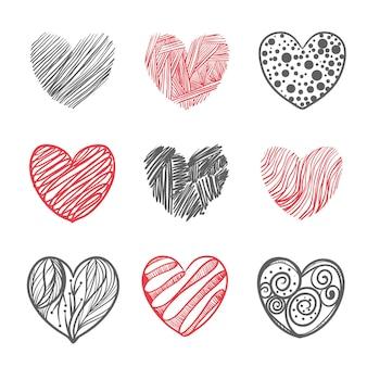 Insieme dell'illustrazione del cuore disegnato a mano