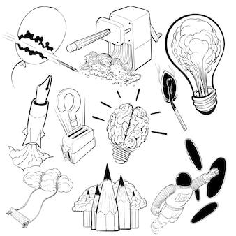 Insieme dell'illustrazione del disegno della mano del concetto creativo di idee