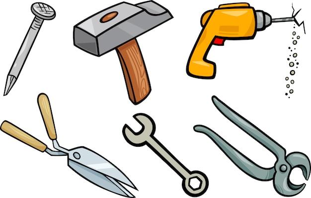 Insieme dell'illustrazione del fumetto degli oggetti degli strumenti