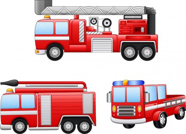 Insieme dell'illustrazione del fumetto del camion dei vigili del fuoco