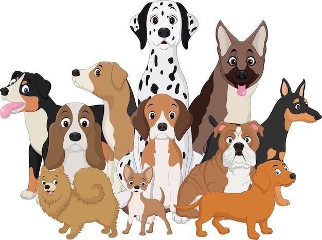 Insieme dell'illustrazione del fumetto divertente dei cani