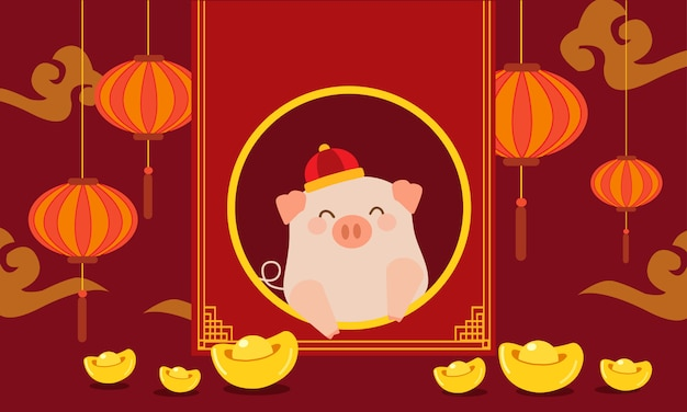 Insieme dell'illustrazione del maiale del nuovo anno cinese