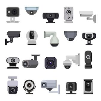 Insieme dell'illustrazione del sistema di tecnologia di protezione video di sicurezza di controllo del cctv della videocamera di sicurezza del dispositivo digitale della webcam dell'attrezzatura della guardia di sicurezza isolato