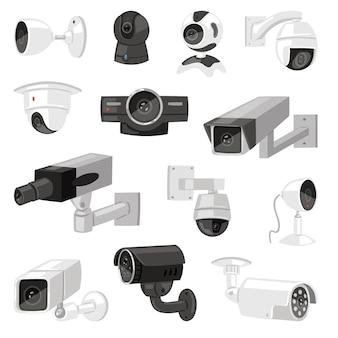 Insieme dell'illustrazione del sistema di tecnologia di protezione video di sicurezza di controllo del cctv della videocamera di sicurezza del dispositivo sicuro della webcam dell'attrezzatura della guardia isolato su fondo bianco