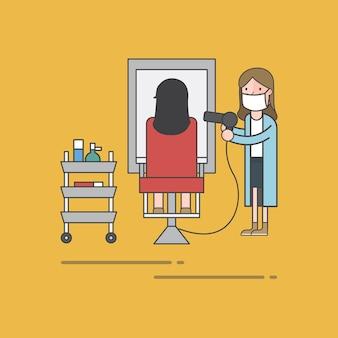 Insieme dell'illustrazione del vettore del negozio di barbiere