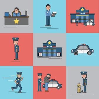 Insieme dell'illustrazione del vettore della polizia