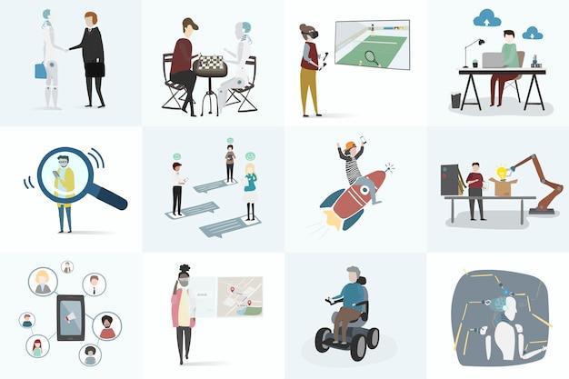 Insieme dell'illustrazione del vettore umano dell'avatar