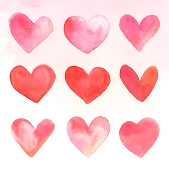 Insieme dell'illustrazione dell'acquerello delle icone del cuore