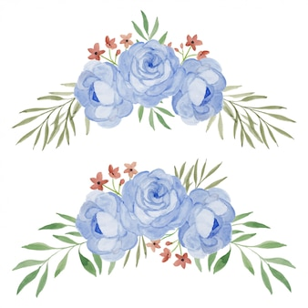 Insieme dell'illustrazione dell'acquerello di disposizione dei fiori di rosa