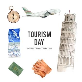 Insieme dell'illustrazione dell'acquerello isolata progettazione della raccolta di turismo