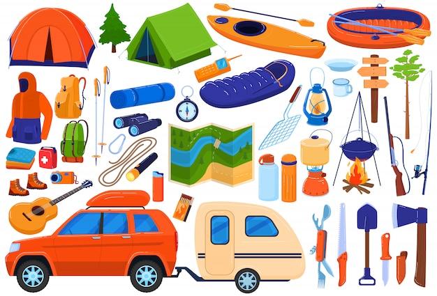 Insieme dell'illustrazione dell'attrezzatura del campo turistico, raccolta di spedizione di viaggio del fumetto per i turisti della famiglia che fanno un'escursione, accampantesi nella foresta
