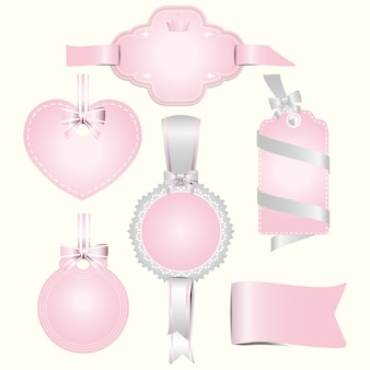 Insieme dell'illustrazione dell'etichetta di distintivi rosa