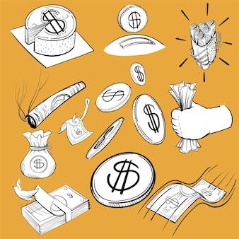 Insieme dell'illustrazione dell'illustrazione della mano di finanza
