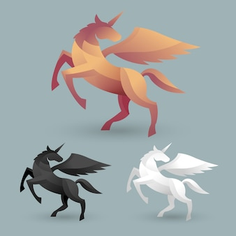 Insieme dell'illustrazione dell'unicorno di stile del mestiere
