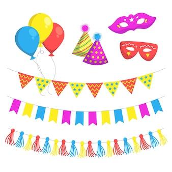 Insieme dell'illustrazione della decorazione di compleanno
