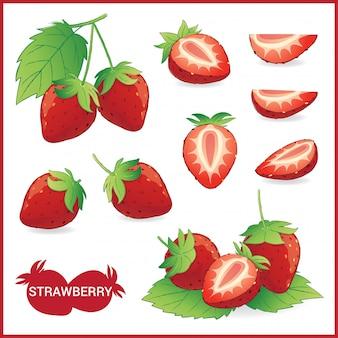 Insieme dell'illustrazione della frutta della fragola con la foglia nella fetta, metà, intera nel formato di vettore