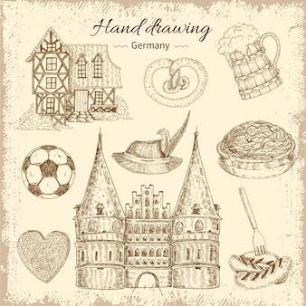 Insieme dell'illustrazione della germania disegnata