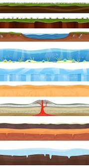 Insieme dell'illustrazione della scena della terra di gioco con erba, pietra, ghiaccio, mare, oceano