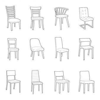 Insieme dell'illustrazione della sedia di dinning
