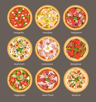 Insieme dell'illustrazione della vista superiore della pizza differente con gli ingredienti. colori italiani gustosi e luminosi pizza, vegetariano, funghi, hawaiano e carne in stile cartone animato piatto su sfondo grigio.