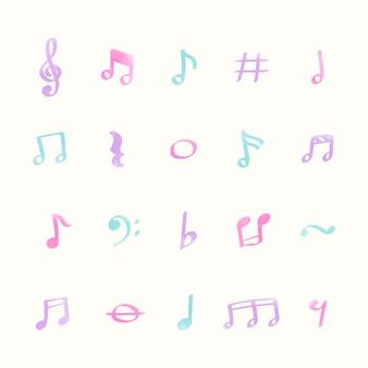 Insieme dell'illustrazione delle icone della nota di musica