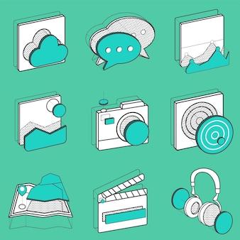 Insieme dell'illustrazione delle icone di ricreazione
