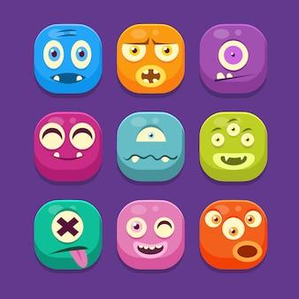 Insieme dell'illustrazione delle icone di web del mostro