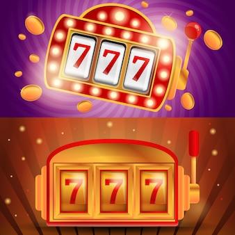 Insieme dell'illustrazione dello slot machine del casinò, stile del fumetto