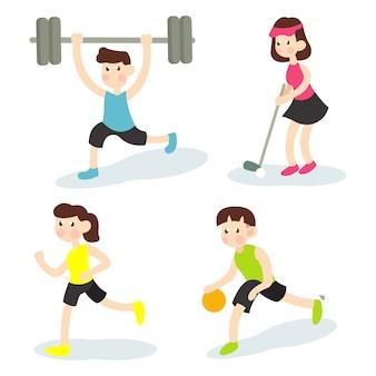 Insieme dell'illustrazione di attività sportiva con stile piano