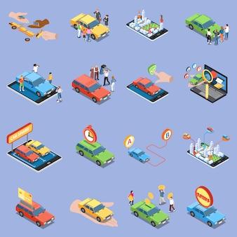 Insieme dell'illustrazione di car sharing con isometrico di simboli del carsharing isolato