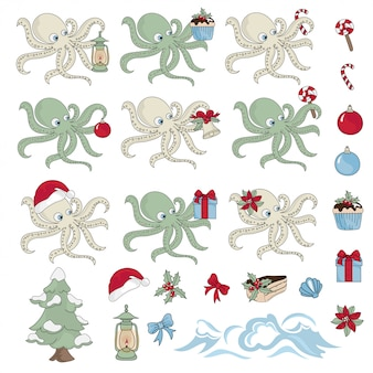 Insieme dell'illustrazione di colore del nuovo anno del regalo di octopus