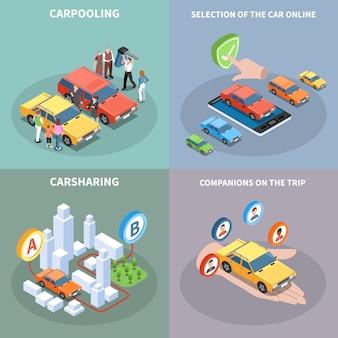 Insieme dell'illustrazione di concetto di car sharing con isometrico di simboli di selezione dell'automobile isolato