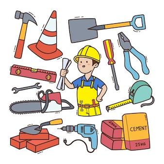 Insieme dell'illustrazione di doodle dell'appaltatore