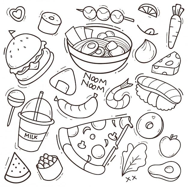 Insieme dell'illustrazione di doodle di cibo