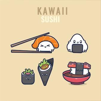 Insieme dell'illustrazione di emoji dell'emoticon dell'alimento giapponese di kawaii dei sushi