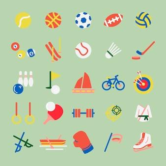 Insieme dell'illustrazione di hobby e di iconsa di sport